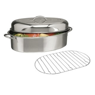 "16"" Stainless Steel Top Roast Roasting Pan Rack and Lid"