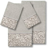 Authentic Hotel and Spa Turkish Cotton Textured Jacquard Light Grey 4-piece Towel Set