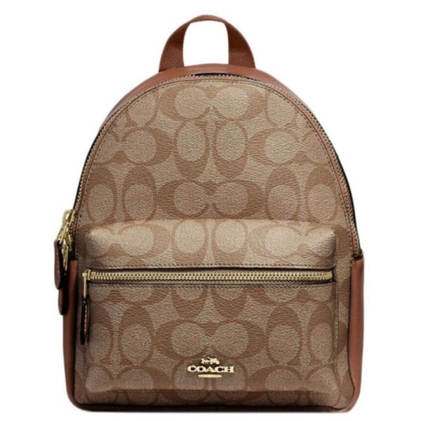 433af16d04 Shop Coach 58315 Mini Charlie Signature Backpack Bag Khaki Saddle - On Sale  - Free Shipping Today - Overstock - 22890693
