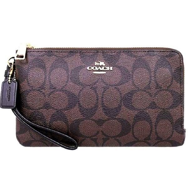 Coach Signature Double Zip Wristlet Wallet 16109 Brown Black