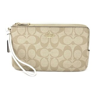 Coach Signature Double Zip Wristlet Wallet 16109 Light Khaki Chalk