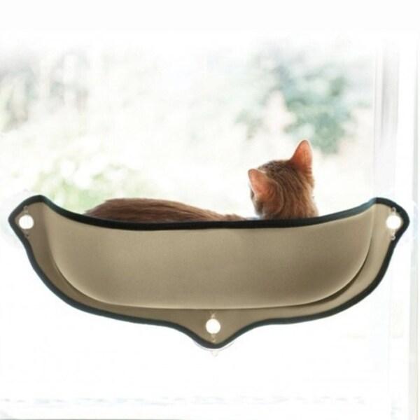 Cat Hammock Window Seat Suction Cups Soft Cat Resting Sunbath Bed   Beige