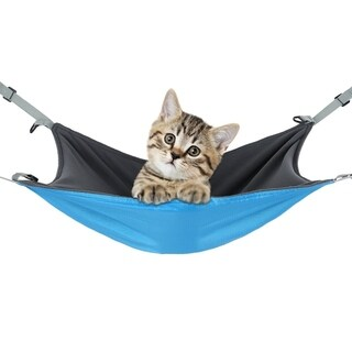 Reversible 2 Sides Cat Cage Hammock Bed Mat Small Dog Hanging Bed - BLue