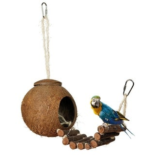 Coconut Shell Bird Nesting House Parakeets Finches Sparrows Cage - wood color - with fur