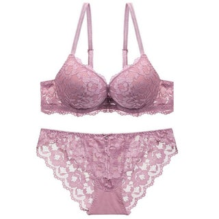 y Lace Bra Set Three Quarters Cup Push Up Underwear Lingerie