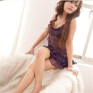y purple hot dress transparent camisole basque lingerie