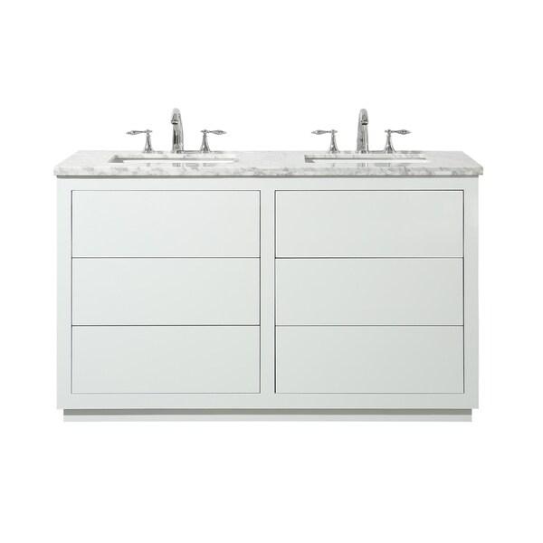Shop Stufurhome Lang 56 Inch White Double Sink Bathroom ...