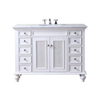 Stufurhome 48 inch Rory White Single Sink Vanity with Carrara Marble Top