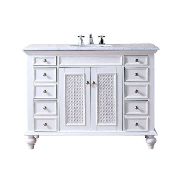 Shop Stufurhome 48 Inch Rory White Single Sink Vanity With Carrara