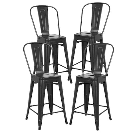 EdgeMod Trattoria 24-inch High-back Counter Stools (Set of 4)
