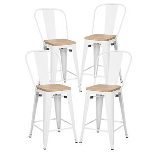 """Poly and Bark Trattoria 24"""" High Back Counter Stool (Set of 4)"""