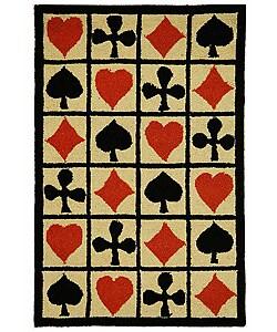 Safavieh Hand-hooked Poker Ivory Wool Rug (2'9 x 4'9)