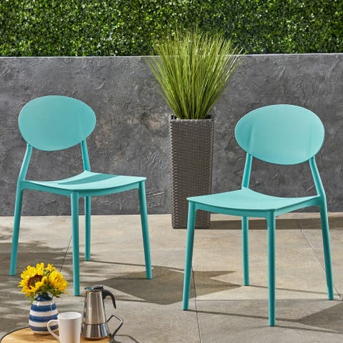 Westlake Outdoor Plastic Chairs (Set of 2) by Christopher Knight Home