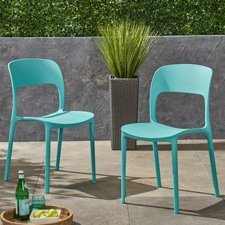 Katherina Outdoor Plastic Chairs (Set of 2) by Christopher Knight Home