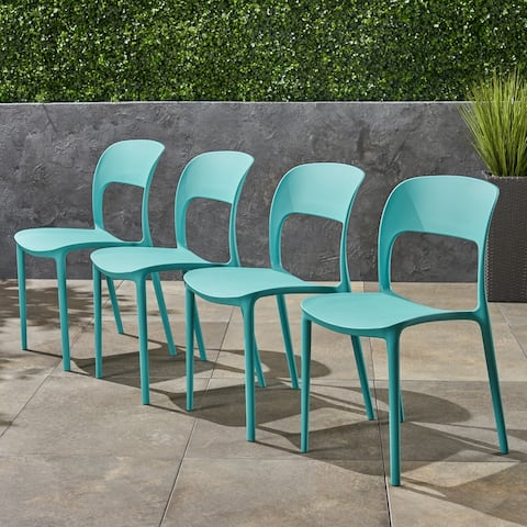Katherina Outdoor Plastic Chairs (Set of 4) by Christopher Knight Home