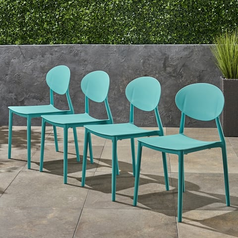 Westlake Outdoor Plastic Chairs (Set of 4) by Christopher Knight Home