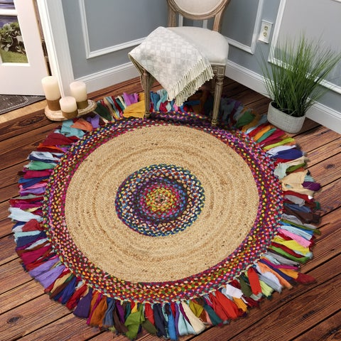 LR Home Natural Hand Braided Malena Chindi Multi Cotton / Jute Indoor Rug - 5'6 x 5'6