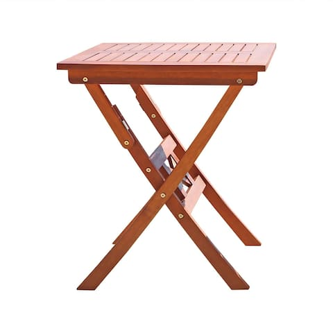 Vifah Malibu Outdoor Patio Eucalyptus Hardwood Folding Bistro Table in Natural Finish