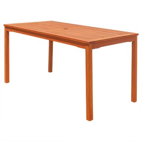 Vifah Malibu Outdoor Patio Eucalyptus Hardwood Rectangular Dining Table