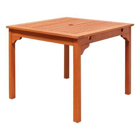 Vifah Ibiza Outdoor Patio Eucalyptus Hardwood Stacking Table in Natural Finish