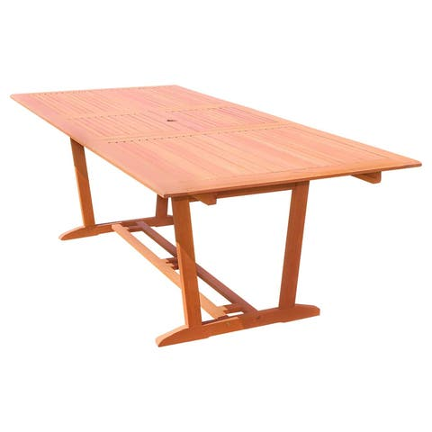 Vifah Malibu Outdoor Patio Eucalyptus Wood Rectangular Extension Dining Table with Foldable Butterfly