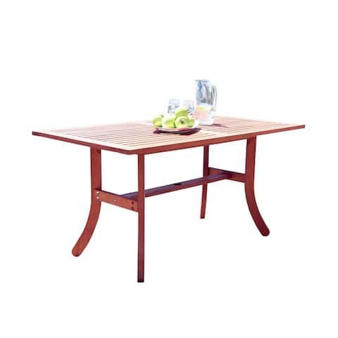 Vifah Malibu Outdoor Patio Eucalyptus Hardwood Rectangular Dining Table with Curvy Legs