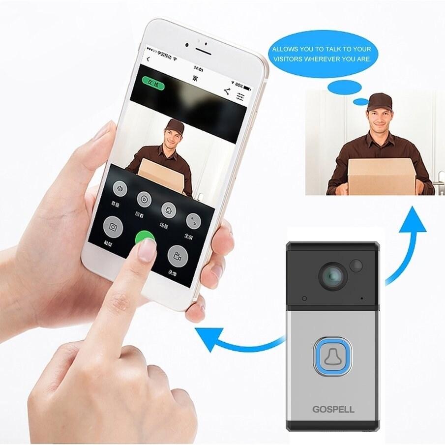 Wifi Enabled Weather Resistant Ring Video Visual Doorbell Smart Alarm