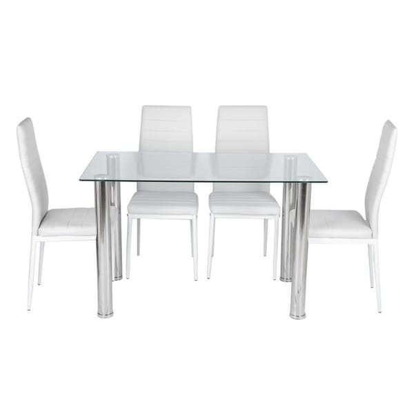 Shop Dining Table Set With 4 Pu Leather Chairs 5 Piece Chairs Table