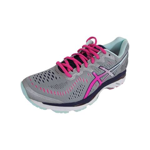 Asics Womens GEL-Kayano 23 Running Shoes, Silver/Pink Glow/Purple