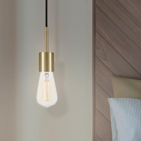 Porch & Den Bidwell Brass 1-light Plug-in Pendant. Opens flyout.