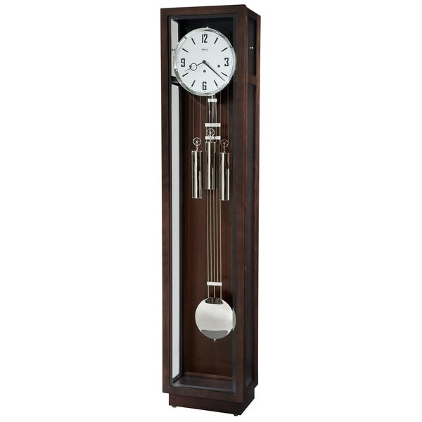 Ridgeway Rutland Modern, Sleek, and Chic Grandfather Style Chiming Floor Clock with Pendulum and Movements