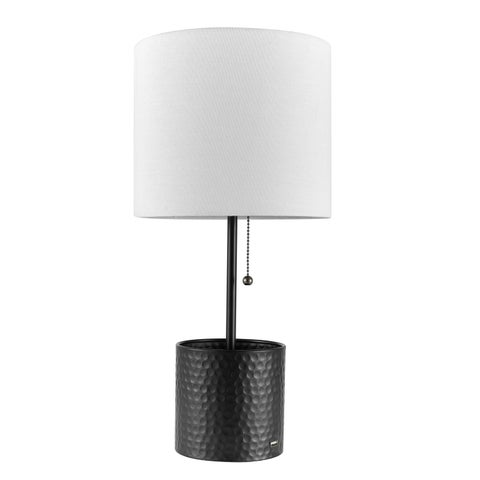 "Cobain 19"" Table Lamp, Textured Black Finish, White Fabric Shade, USB Port"