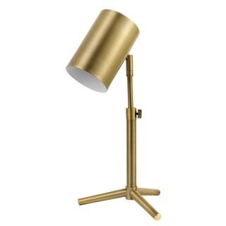"Pratt 18"" Desk Lamp, Matte Brass Finish, Adjustable Height, In-Line Rocker On/Off Switch"