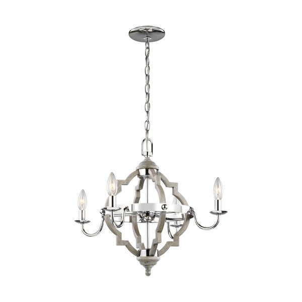 Shop Socorro Washed Pine 4 Light Chandelier