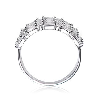 Collette Z Sterling Silver with Rhodium Plated Clear Round Emerald and Marquise Cubic Zirconia Linear Cluster Ring