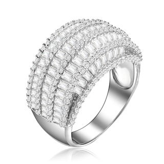 Collette Z Sterling Silver with Rhodium Plated Clear Round and Emerald Cubic Zirconia Cluster Cocktail Ring