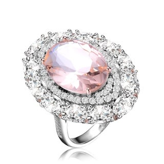 Collette Z Sterling Silver with Rhodium Plated Morganite Oval with Clear Round and Oval Cubic Zirconia Halo Ring