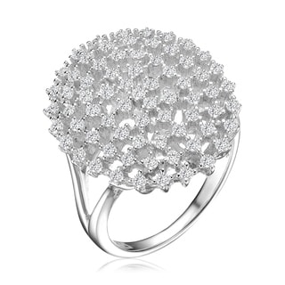 Collette Z Sterling Silver With Rhodium Plated Clear Round Cubic Zirconia Coral Style Cluster Ring