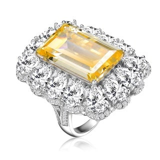 Collette Z Sterling Silver with Rhodium Plated Yellow Emerald with Clear Round and Pear Cubic Zirconia Halo Ring