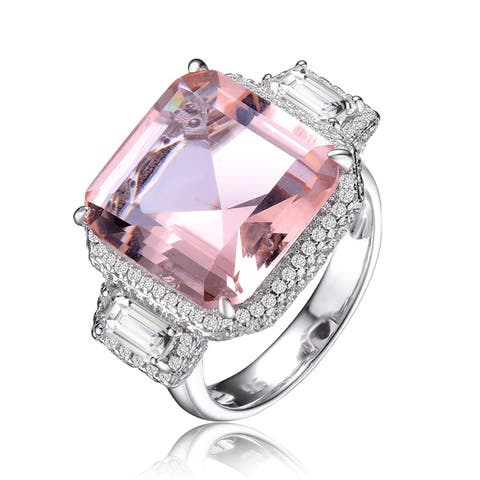 Collette Z Sterling Silver with Rhodium Plated Morganite Asscher with Clear Emerald Cubic Zirconia Halo Three-Stone Ring
