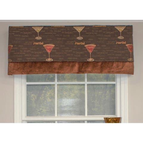 RLF Home Martini Straight Banded Window Valance - Brown