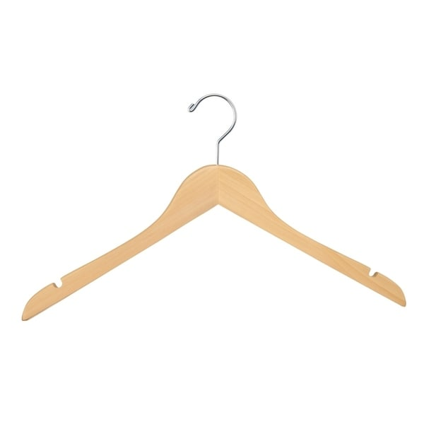 Econoco WH1761NC 17inch Flat Natural Finish Wooden Hanger with Chrome Hook and No Bar (Pack of 100)