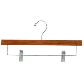 Econoco - TSC901S - 14inch Teak Wood Pants/Skirt Hanger with Satin Chrome Hook, Bar and Clips in Pack of 100