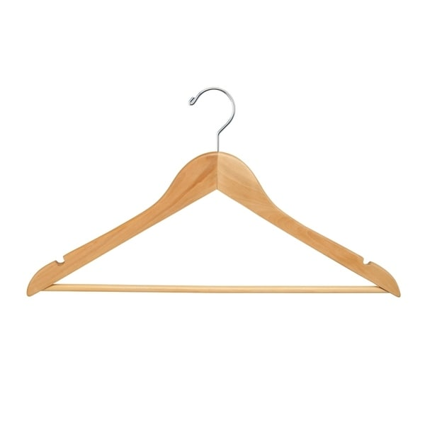 "Econoco - WH1761BNC - 17"" Flat Natural Wooden Hanger with Chrome Hook and Wooden Bar (Pack of 100)"