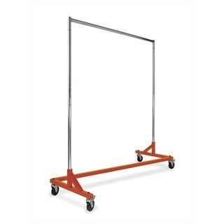 Econoco Rolling Garment Rack with Orange Z-Base and Chrome Round Tubing Hangrail and uprights