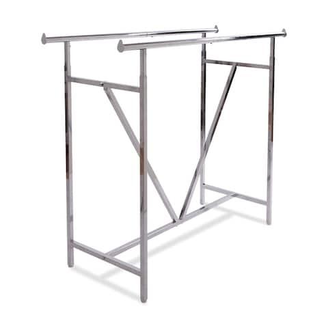 Econoco Adjustable Heavy Duty Double Bar, Retail Clothing Rack, Rectangular Hangrail Rack w/V-Brace