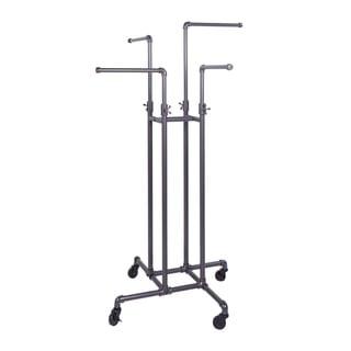 Clothing Rack Econoco - Heavy Duty Pipeline Adjustable, 4 Way Rack, Plumbing Pipe Clothes Rack, Anthracite Grey
