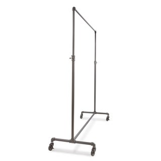 "Econoco 60"" Hangrail Adjustable Height Rolling Garment Clothing Rack, Anthracite Grey"