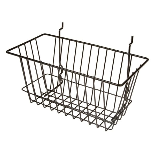 """Econoco - BSK17/B - 12""""W x 6""""D x 6""""H Black Multi-Fit Narrow Basket for Slatwall, Grid or Pegboard Sold in Pack of 6"""