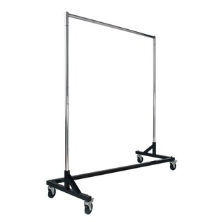 Econoco Rolling Garment Rack with Black Z-Base and Chrome Round Tubing Hangrail and uprights